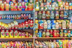 Display of colorful russian dolls (matryoshkas) Royalty Free Stock Photography