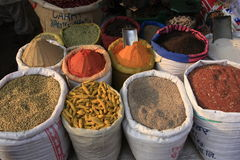 Display of colorful spices and grains, India Royalty Free Stock Photos