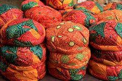 Display of Colorful Turbans. Ready to use vibrant colored Ralasthani turbans on display near Patawon-ki-Haweli in Jaisalmer, Rajasthan, India, Asia Royalty Free Stock Images