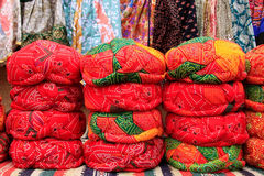 Display of colorful turbans at a souvenir shop in Jaisalmer fort Stock Image