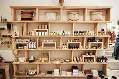 Display Of Cosmetics In Independent Store Without Customers stock images