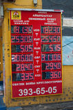 Display of currency exchange. ALMATY, KAZAKHSTAN - MAY 6, 2014: Display of currency exchange on the street. Almaty is the largest city in Kazakhstan, and was the Stock Image