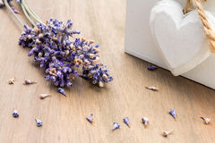 A Display of Dried Lavender with Wooden Heart Stock Photos