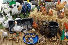 Display of Ducks and Chickens and other Farm Animals Stock Photos