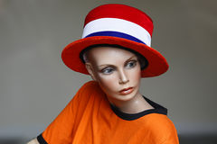 Display of Dutch Soccer Nationalism. Mannequin in Dutch national colours, a Display of Soccer Nationalism in the Netherlands royalty free stock photo