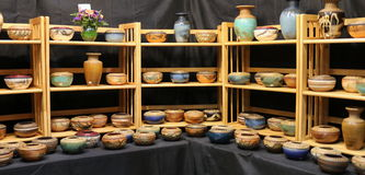 Display of Earthenware Bowls and Vases Stock Photos