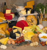 Display of English Cheese & Dairy Produce Stock Images