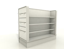 Display fixtures with slat wall and shelves. Blank display stand -  high res render Royalty Free Stock Image