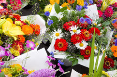 Display of flower bouquets Stock Images
