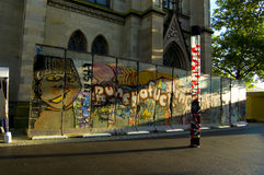 Display fragment berlin wall in the city of Basel, Switzerland Royalty Free Stock Photos