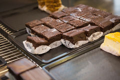 Display of fresh and delicious slices of brownies Royalty Free Stock Photo