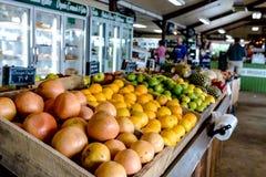 Display of fruit at a farmers& x27; market Stock Photos