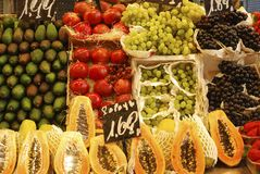 Display of fruit on market stall. Barcelona. Spain Royalty Free Stock Photo