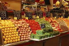 Display of fruit on market stall. Barcelona. Spain. Dislay of fresh fruit and vegetables on market stall in La Boqueria covered market. Barcelona. Catalonia stock image