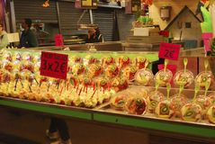 Display of fruit on market stall. Barcelona. Spain Stock Images