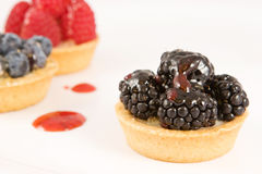 A display of fruit tarts. Assorted fruit tarts on white background Stock Image