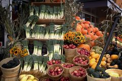 Display of fruits and vegetables Stock Photography