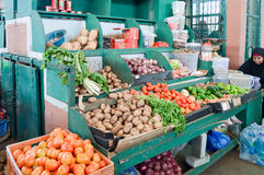 Display of fruits and vegetables Stock Photos