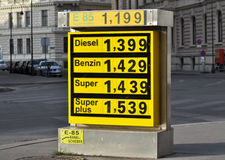 Display of fuel prices at a service station Royalty Free Stock Photography