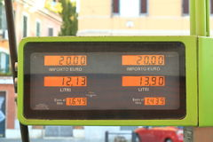 Display of gas station on street. Rome, Italy - August 17, 2015: The display of gas station on street close up royalty free stock images