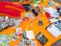 Display goods on King's Day flea market in Holland Royalty Free Stock Image