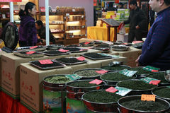 Display of green tea for sale at a local fair. Shenzhen, China - January 22, 2011 - Display of green tea for sale at a local fair stock image