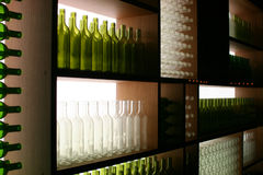 Display of Green and White Bottles Stock Photography