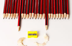 A display of a group of pencils Royalty Free Stock Photos