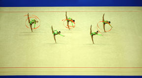 Display of gymnasts with ribbons Royalty Free Stock Images