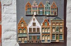 Display of handcrafted ceramic Bruges houses. Bruges, Belgium Stock Photos