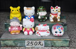 Display of handcrafted character potteries for sale, Yingge Town Royalty Free Stock Photo