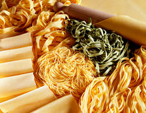 Display of handmade Italian pastas Stock Image