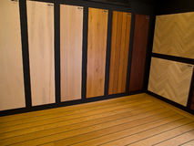 Display of hardwood parquet floors. Display of various designed hardwood parquet floors Stock Photos