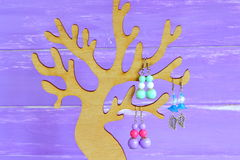 Display holder tree, wooden organizer. How to organize earrings at home. Jewelry tree stand, perfect for necklaces, earrings. Bright beautiful colored female Royalty Free Stock Photos