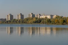 Display of houses in the water. lake in the park. stock photo