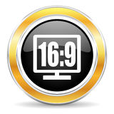 16 9 display icon. Black web button with golden ring Royalty Free Stock Image