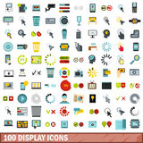 100 display icons set, flat style Royalty Free Stock Photos