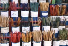 Display of incense at a store for sale Royalty Free Stock Images