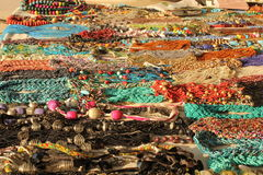 Display of Indian colorful handcrafts necklages Stock Photo