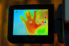 Display of infrared thermometer Stock Image