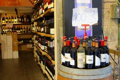 February 2019, Display wine bottles outdoor inside store, Jerusalem, Israel royalty free stock photo
