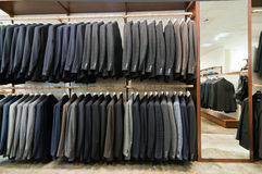 Display of italian style men suits Royalty Free Stock Photos