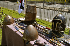 Display of knights armour. And armaments Stock Image