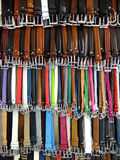 Display of leather belts Royalty Free Stock Image