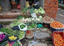 Display of local vegetables - fruit stall - Nepal. Display of local fruit and vegetables outside in a shop - in a street in Display of local fruit and vegetables stock images