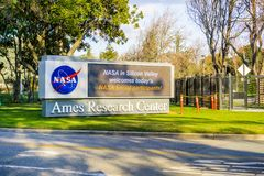 Display located at the entrance to NASA Ames Research Center. February 12, 2018 Mountain View / CA / USA - Display located at the entrance to NASA Ames Research Stock Image