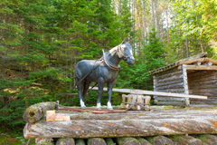A display at a logging museum in northern ontario. A Man-made horse representing the old-fashioned mode of transport in the logging industry as seen at algonquin Stock Images