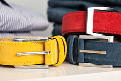 Display of man belts in a shop Royalty Free Stock Photography