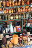 Display of mate cups at the street market in Asuncion, Paraguay Royalty Free Stock Photo