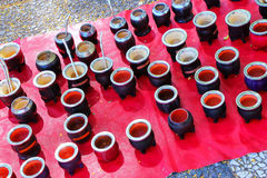 Display of mate cups at the street market in Montevideo, Uruguay Stock Photography